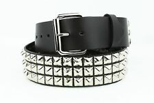 Studded 3 Row Silver Pyramid USA Made Belt Genuine Leather Punk Rock Gothic