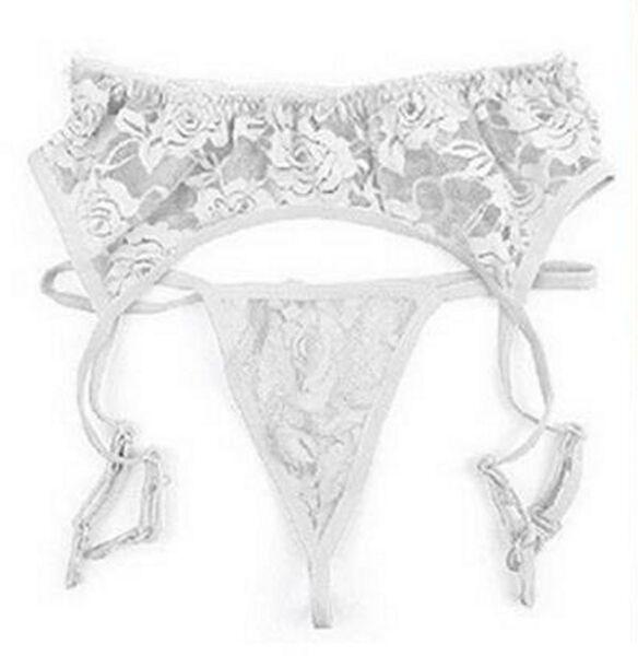Strapsgürtel / Strapshalter Spitze incl. String florales Muster Weiß
