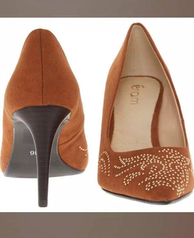 ERAM en cuir marron clous pointus bouts Cour Chaussures Taille 8 Slim Talon 3.3