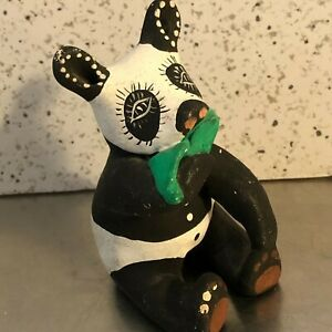 Panda Figurine Handmade Red Clay Boho Ethnic Animal Figure Artist Signed 1982