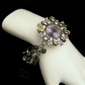 Chunky-Quartz-Watch-Bracelet-Lavender-Green-Art-Glass-Rhinestones-8-in-Large-NOS