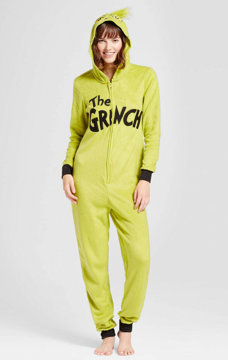 Grinch Christmas One Piece Hooded Pajamas Womens M or XL Juniors Adult