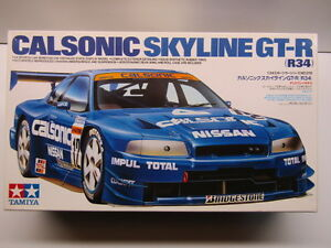Tamiya-1-24-Scale-Calsonic-Nissan-Skyline-R34-GT-R-Model-Kit-24219-Used