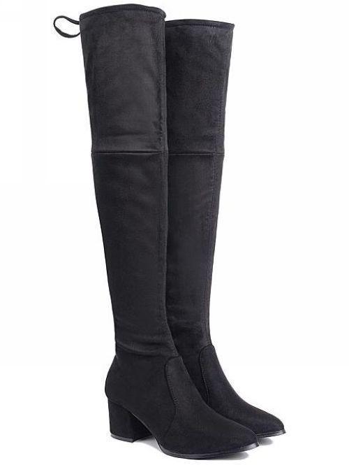 botas negro rodilla muslo 5.5 cm cómodo caldi como piel piel piel 8865  barato y de alta calidad