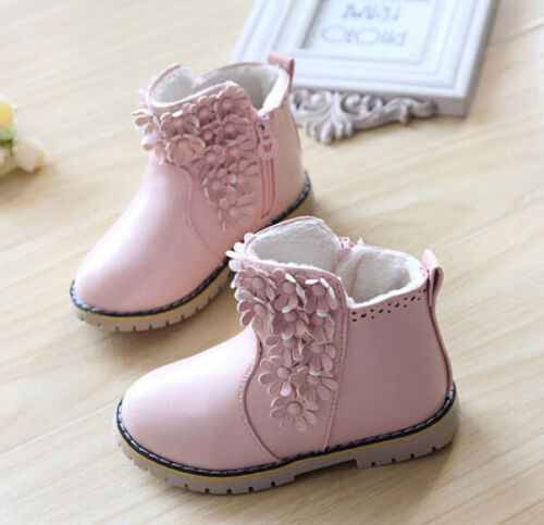 FASHION inverno bambini principessa carino Ragazza Fiore PU Pelle ZIPPER SHORT BOOT SHOES