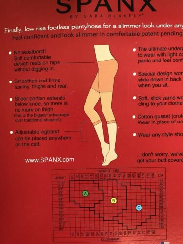 NEW $26 SPANX Size B Hip-Notic Low Rise Footless Body Shaping Pantyhose NUDE