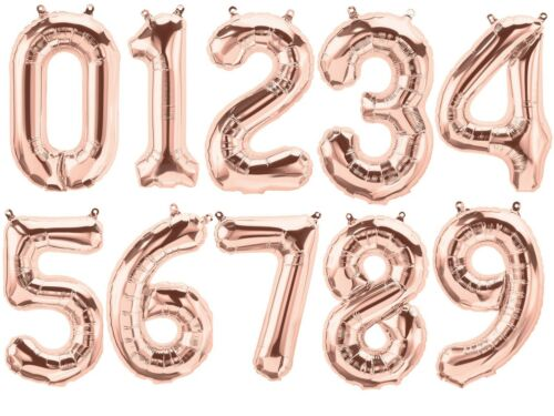 """16/"""" Globos Aluminio Número De Oro Rosa De Aire Fiesta de Cumpleaños Boda Ceremonia"""