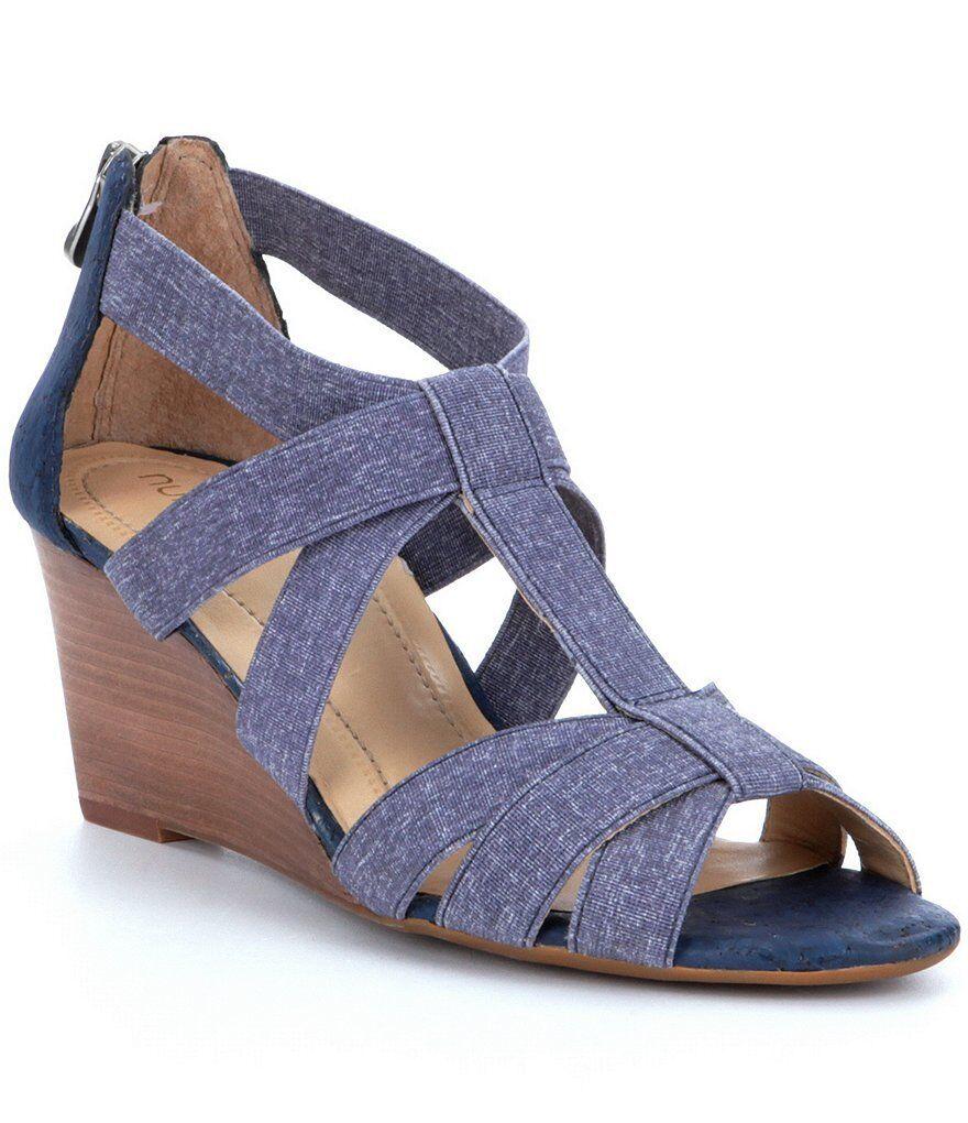NURTURE women's Terrie Denim Elastic Banded WEDGE SANDALS Back Zip Blue size 8.5