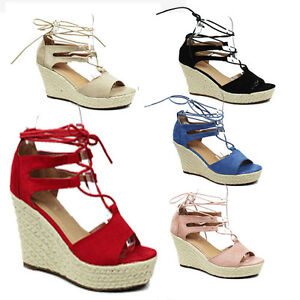 WOMENS PLATFORM WEDGE HEEL SUMMER TIE UP STRAPPY SANDALS LADIES SHOES SIZE 3-8