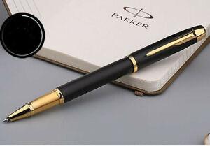 Luxurious-Metal-Parker-IM-Matte-Black-Golden-Clip-0-5mm-Fine-Nib-Rollerball-Pen