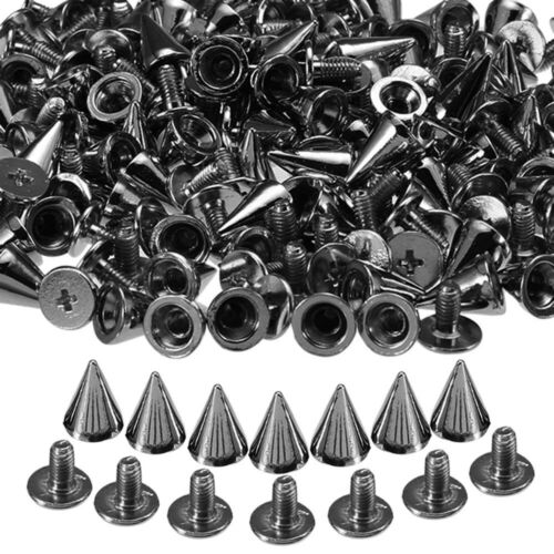 100sset 10mm Silver Cone Studs And Spikes DIY Craft Punk Rivets For Clothes Bag