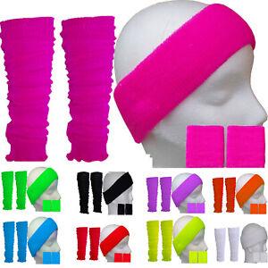 Neon-LEG-WARMERS-HEADBAND-WRISTBAND-Tutu-80-039-s-Fancy-Dress-SWEATBAND