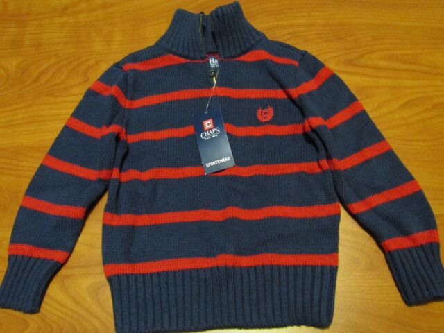 Chaps Toddler Boys Navy Blue And Red Striped Pullover Sweater Sz 3t