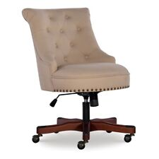 Linon Sinclair Wood Upholstered Office Chair In Beige