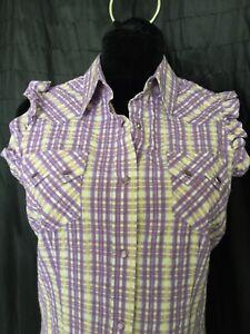 shyanne-womens-shirt-sleeveless-plaid-M-western-cowgirl-pearl-snap-purple-yellow