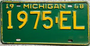 1968 Michigan Great Lake State American License Licence USA Number Plate 1975 EL