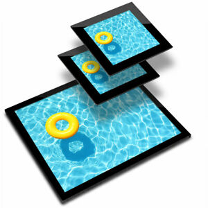Glass Placemat  & 2x Coaster  - Swimming Pool Rubber Ring  #14393
