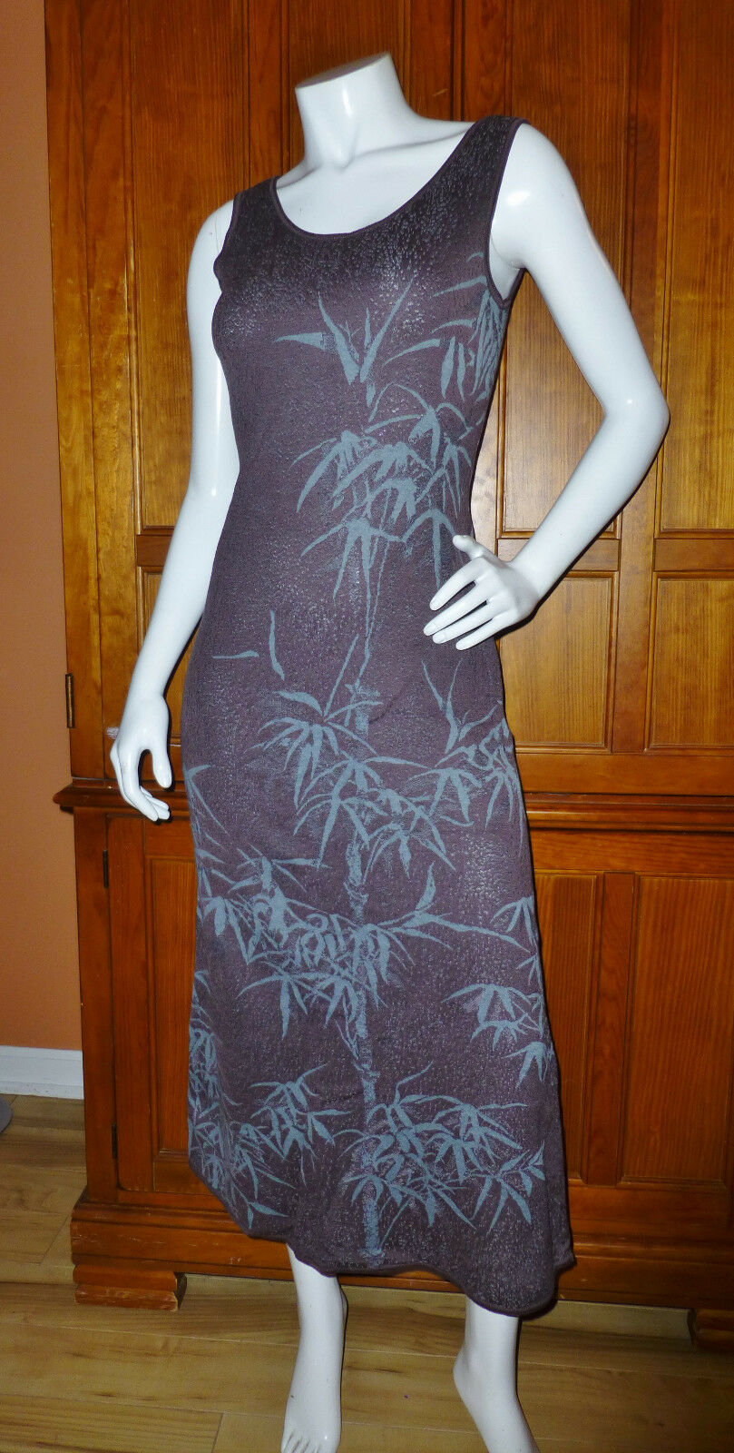 PERUVIAN Connection  Bamboo Leaf 100% Pima Cotton Knit Sweater Tank DRESS M