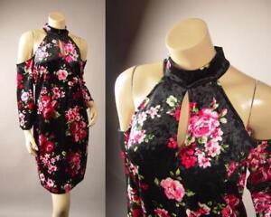 Black-Velvet-Dark-Floral-Print-High-Neck-Cold-Shoulder-254-mv-Dress-1XL-2XL-3XL