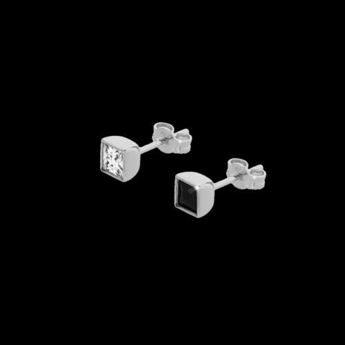 5mm SINGLE Ohrstecker mit Quadrat Cubic Zirkonia in Brillantschliff Damen Herren