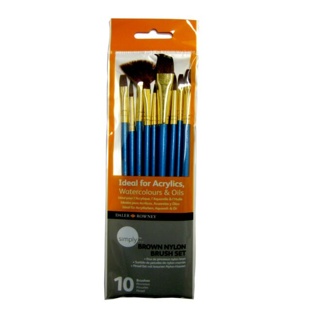 DALER-ROWNEY SIMPLY BRUSHES IDEAL FOR ACRYLICS WATERCOLOURS & OIL 10 BRUSHES