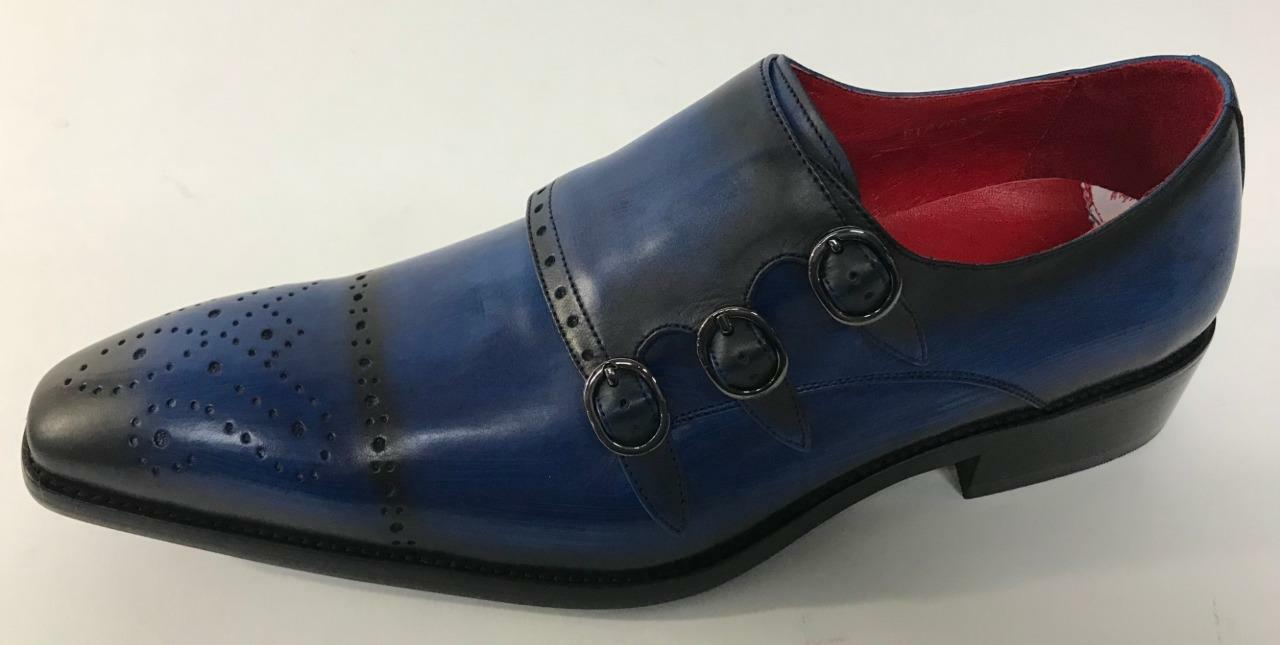 New Encore Fiesso Navy Leather Buckle Buckle Buckle Brogue style Loafer Dress shoes FI 8703 086f84