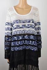 Alfani Womens Blue Black Chifon-Hem Sequin Knit Pullover Sweater Top L