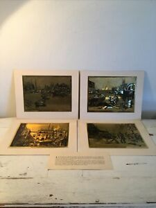 4-Vintage-10-x8-Reproduction-Prints-Of-Lionel-Barrymore-Sea-Etchings-In-Gold