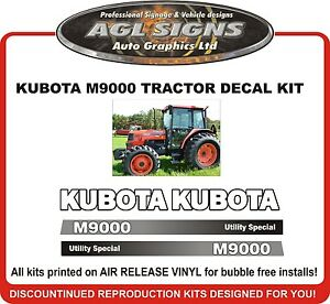 Details about KUBOTA M9000 Reproduction Tractor Decal Kit also M9450