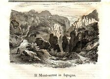 Stampa antica MONTSERRAT Catalogna Spagna 1840 Grabado Antiguo Antique Print