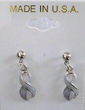 Brain Cancer Awareness gray ribbon dangle pierced earrings,silvertone,USA made