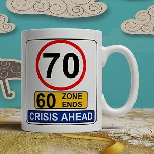 Image is loading 70th-birthday-mug-funny-gift-road-sign-idea-
