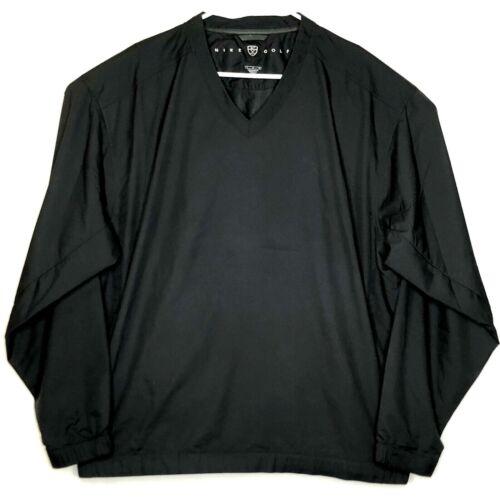 NIKE GOLF Mens V-neck Windbreaker Black Pullover L