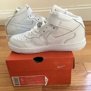 41640f424816 NEW NIKE AIR FORCE 1 MID PS 308937-112 WHITE RETRO KIDS BOYS GIRLS ...