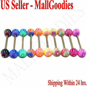 W030-Acrylic-Tongue-Rings-Barbell-Stripes-Design-LOT-10