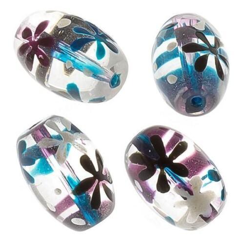 e95//2 Verde Y Púrpura Flor Transparente Oval Perlas De Vidrio De 18 Mm Pack De 4