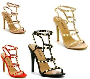 Details about New Women's Studded Ankle Strap High Heels Rivet Gladiators Pointy Sandals Shoes