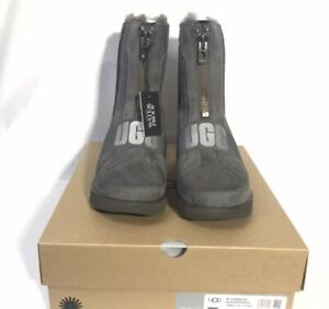 59d94a7f895 Details about UGG Conness Waterproof Charcoal Suede Fur Boots Womens Size 8  *NIB*