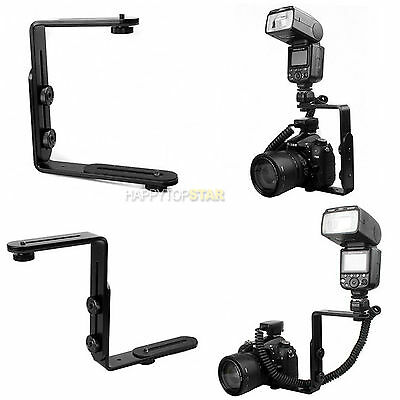 L-Shaped Double Dual Metal Bracket/Holder Mount for Nikon Camera Speedlite Flash