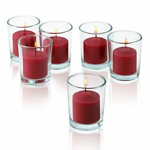 c432125225 12 Clear Glass Round Votive Candle Holders With Red votive candles ...