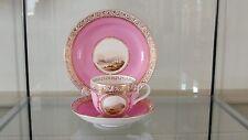 Antique Vieux Paris Pompodour Pink Porcelain Scenic Landscape Cup & Saucer Trio