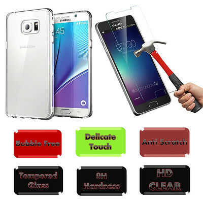Clear Soft TPU Case for Samsung Galaxy Note 5 + Tempered Glass Screen Protector