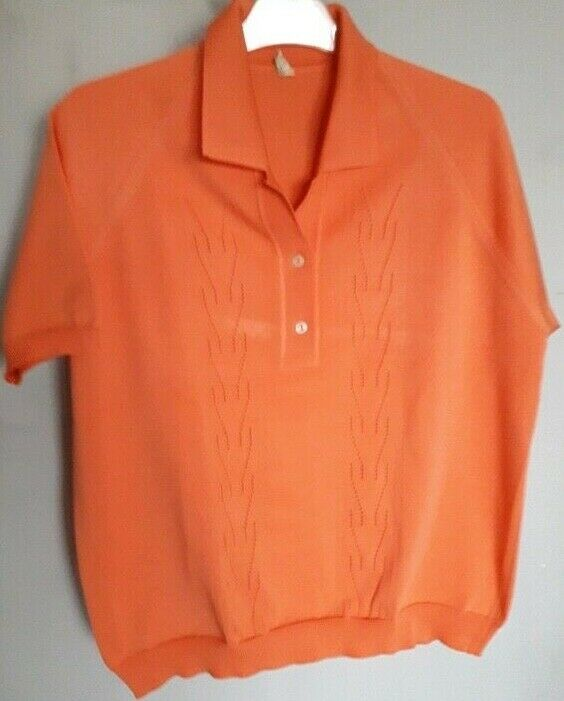 Vintage 60s  Sportswear Cardigan Sweater  Apricot… - image 5