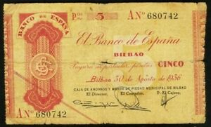1936 Bilbao 5 Pesetas Spain (Banco De Espana) SN# AN 680742