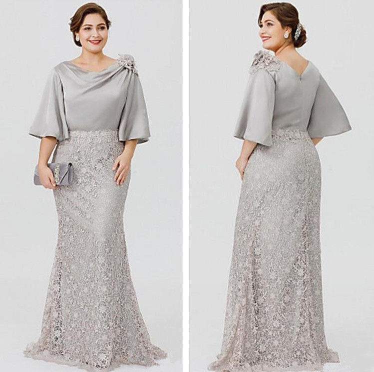Elegant Silve Lace/Satin Mother of the Bride Dress Formal Evening Gown Plus Size