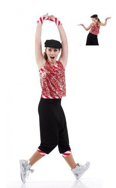 Holiday Wrap Dance Costume Hip Hop Pants Sequin Top Christmas Tap Child X-Large