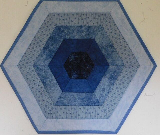 Table Topper Quilted Handmade Six Sided Blues Pieced HMJQuiltsPlus