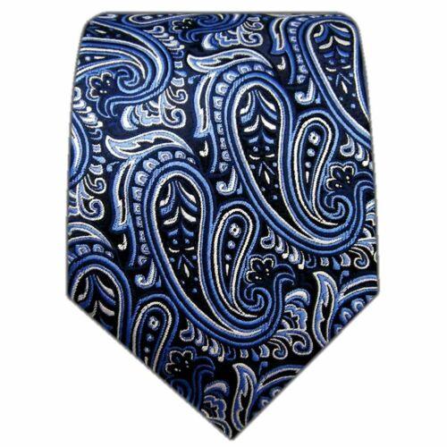 Designer Krawatte aus Seide in schwarz mit blau weißen Paisley