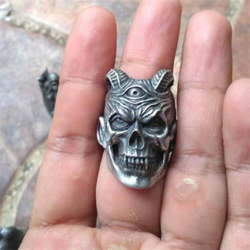 Acero inoxidable para hombre con cuernos Vampiro Diablo cráneo Anillo Punk Gótico Motorista Zombie.