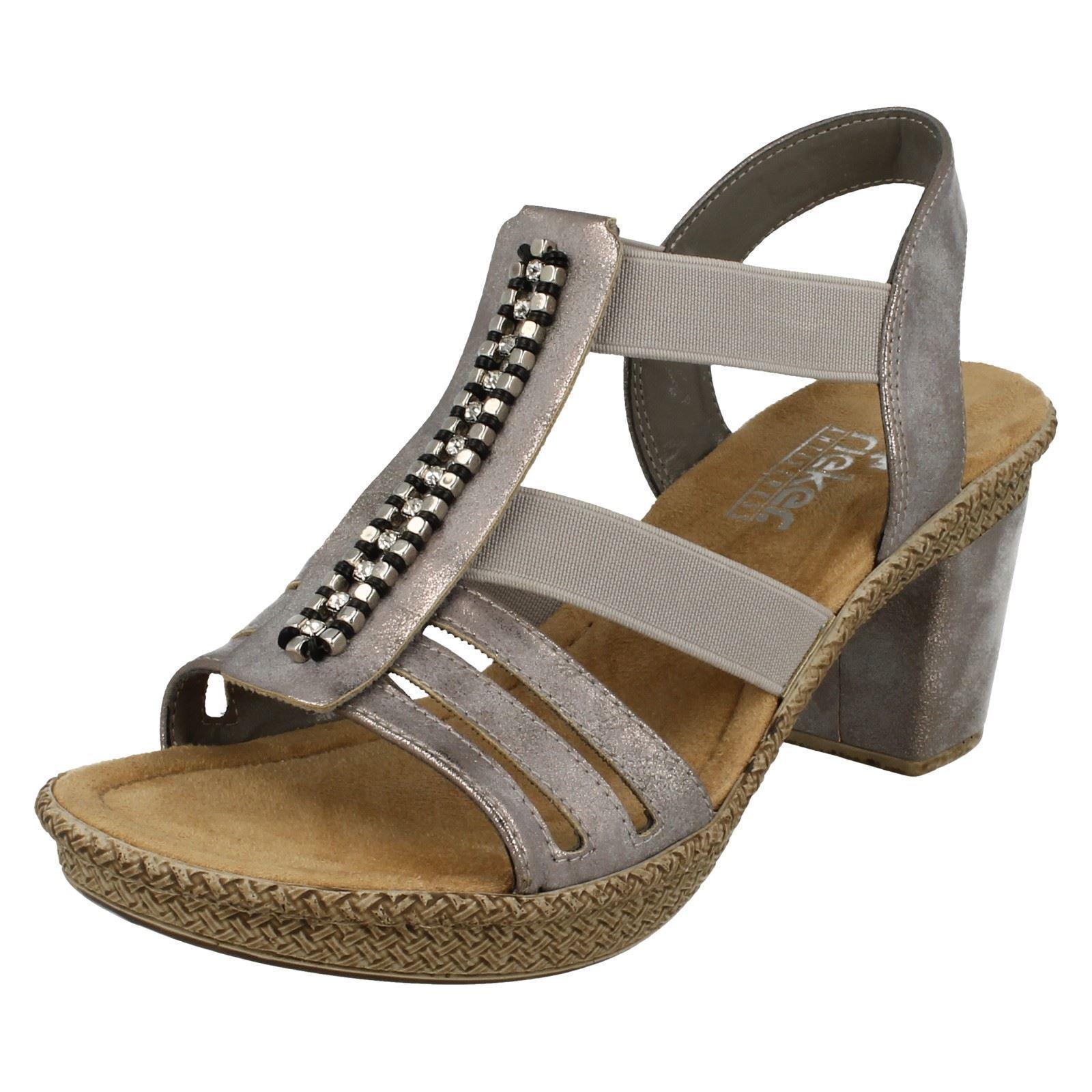 Donna Rieker 66584 Grigio Sintetico Casual Elegante Sandali Con Tacco